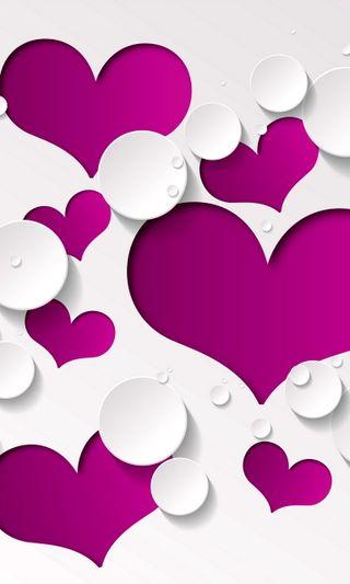 Обои на телефон векторные, фиолетовые, сердце, любовь, капли, белые, абстрактные, love