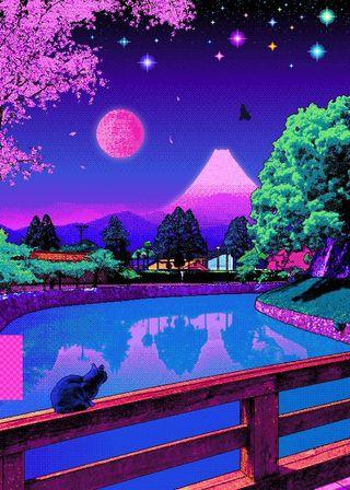 Обои на телефон каваи, свет, милые, луна, moon kawaii pixels