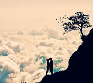 Обои на телефон облака, природа, пара, небо, любовь, любовники, крутые, love