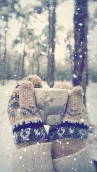 Обои на телефон чашка, снег, gloves, cup