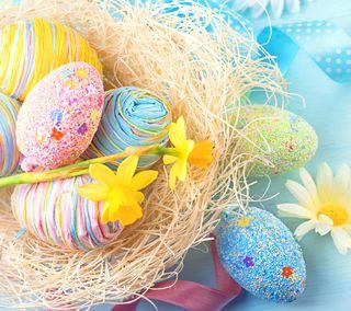 Обои на телефон яйца, пасхальные, цветы, весна