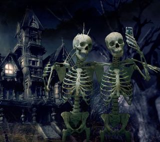 Обои на телефон ужасные, скелет, телефон, селфи, кости, камера, забавные, pics