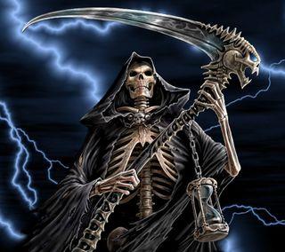 Обои на телефон жнец, скелет