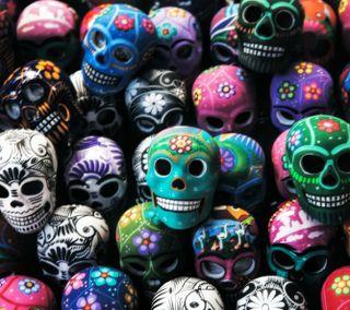 Обои на телефон череп, цветные, сахар, арт, darkdroid, art