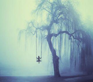 Обои на телефон swing, девушки, дерево, грустные, одиночество, одинокий, тень, силуэт, ветка