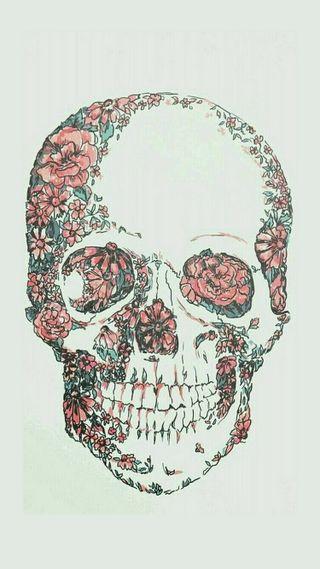 Обои на телефон цветочные, череп, арт, art