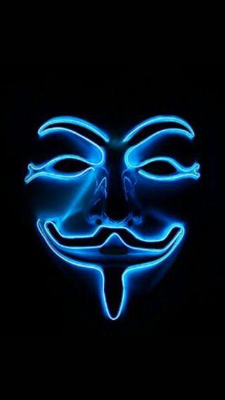 Обои на телефон анонимус, синие, неоновые, маска, gontu