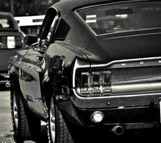 Обои на телефон черные, форд, мустанг, мускул, машины, дорога