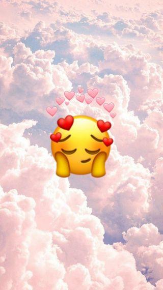 Обои на телефон эмоджи, симпатичные, сердце, розовые, облака, небо, милые, uwu