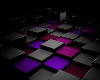 Обои на телефон 3d, черные, синие, темные, фиолетовые, 3д, куб, блоки