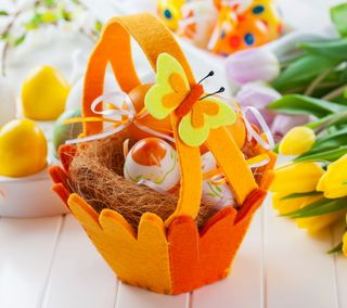 Обои на телефон яйца, празднование, цветы, тюльпаны, праздник, пасхальные, корзина, весна, easter basket