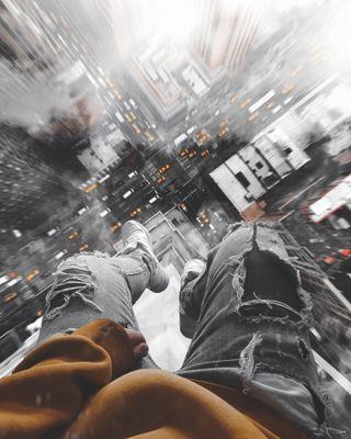 Обои на телефон ты, полет, город, новый, манипуляция, здания, i fell for you