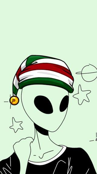 Обои на телефон рождество, пришелец, зеленые, sasukefox, ovni, fondo verde, fondo de navidad, extraterrestres, alienigena, alien de navidad