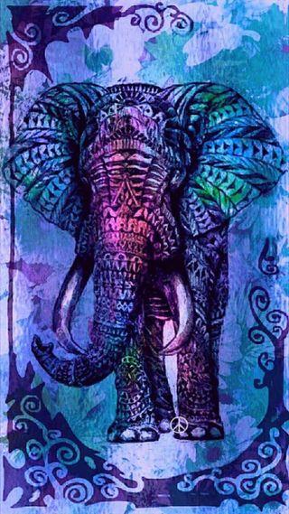 Обои на телефон слон, фиолетовые, милые, мандала, дизайн