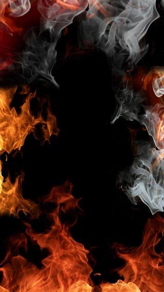 Обои на телефон серые, оранжевые, огонь, абстрактные, on fire, heat, 2015