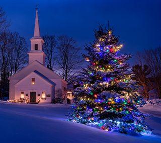 Обои на телефон церковь, светящиеся, цветные, снег, рождество, праздник, огни, зима, дерево, church christmas
