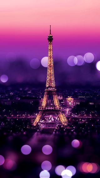 Обои на телефон париж, фиолетовые, сверкающие, боке, башня