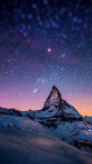 Обои на телефон вечер, снег, звезды, закат, горы