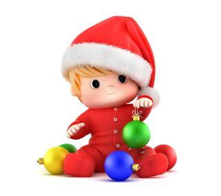 Обои на телефон санта, счастливое, рождество, милые, малыш, 3д, 3d