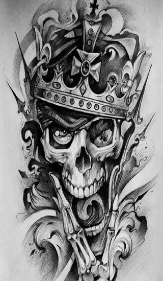 Обои на телефон корона, череп, король, классные