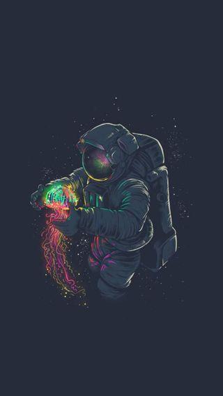 Обои на телефон космонавт, jellyfish