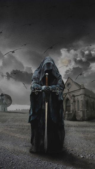 Обои на телефон облачно, ужасы, птицы, меч, дом