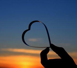 Обои на телефон силуэт, сердце, любовь, закат, love