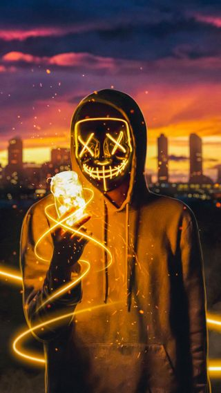 Обои на телефон парень, неоновые, маска, neon mask