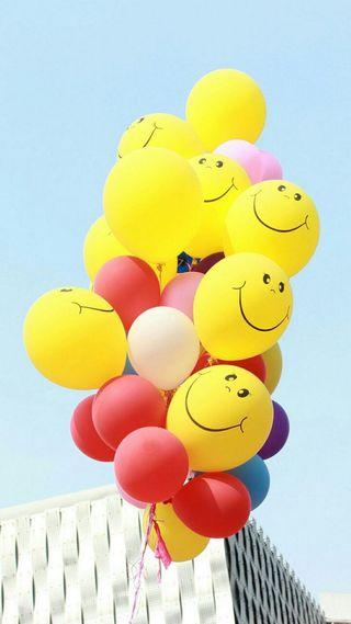 Обои на телефон шары, летать, счастливые, смайлики, приятные, любовь, лицо, красые, love, happy, farha
