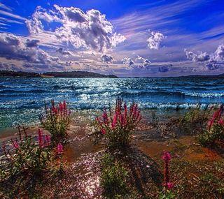 Обои на телефон природа, пейзаж, облака, небо, море