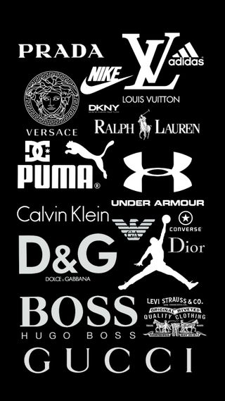 Обои на телефон черные, пума, под, найк, логотипы, конверсы, гуччи, бренды, under armour, puma, nike, iconic logos, gucci, dior, ck