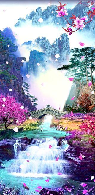 Обои на телефон водопад, цветы, цвести, фантазия, симпатичные, розовые, прекрасные, мечты, вишня, what dreams are