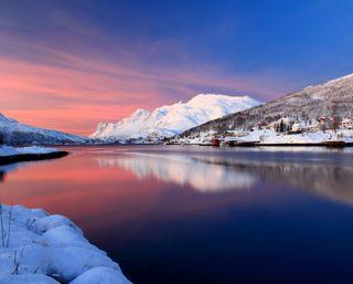 Обои на телефон тишина, снег, плавные, озеро, небо, зима, деревня, smooth sky, silence winter