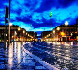 Обои на телефон мокрые, франция, улица, париж, облака, ночь, дорога, дождь, городские, город, france at night