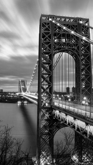 Обои на телефон изображения, черные, ночь, новый, мост, город, белые, puente, bridges