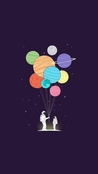 Обои на телефон шары, планеты, космос, космонавт, звезды, space balloons
