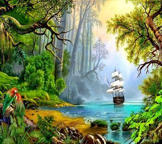 Обои на телефон река, приятные, природа, небо, море, листья, джунгли, деревья, дерево, skip