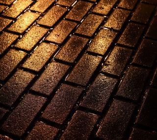Обои на телефон кирпичи, золотые, golden bricks, 2160x1920