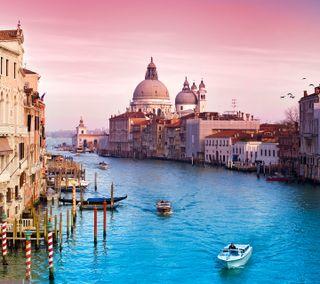 Обои на телефон лодки, река, италия, город, венеция, venezia