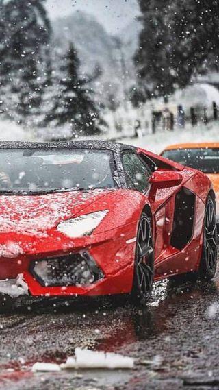 Обои на телефон снег, машины, ламборгини, красые, lamborghini in snow, lamborghini
