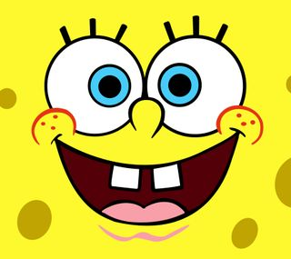Обои на телефон spongebob squarepants, синие, забавные, желтые, смайлики, глаза, губка боб