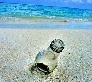 Обои на телефон слева, бутылка, пляж, песок, остров, океан, небо, море, земля, дрифт, берег, left to drift