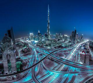 Обои на телефон дороги, синие, светящиеся, пейзаж, огни, небо, здания, город, вид