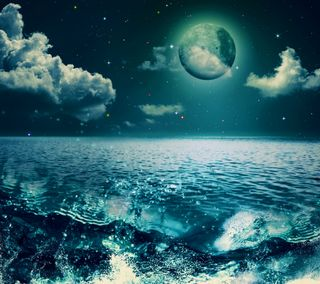 Обои на телефон волны, природа, ночь, море, лунный свет, луна, вода