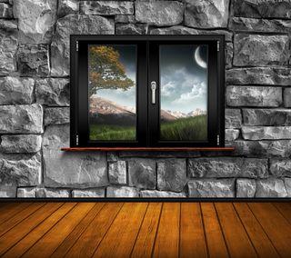 Обои на телефон окно, стена, природа, небо, луна, листья, комната, камни, дерево, вид, wondows, windows view hd