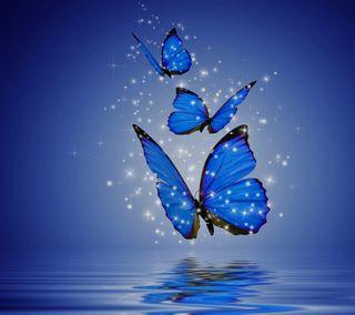 Обои на телефон звезды, синие, озеро, бабочки, абстрактные