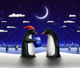 Обои на телефон подарок, рождество, пингвины, christmas gift