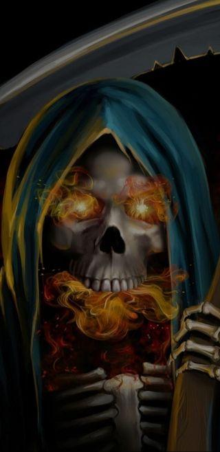 Обои на телефон жнец, череп, скелет, огонь