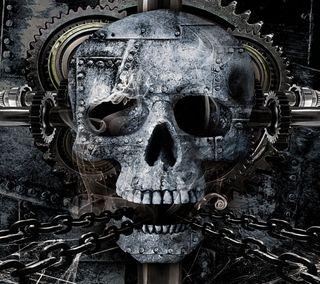 Обои на телефон стальные, череп, металл, кость