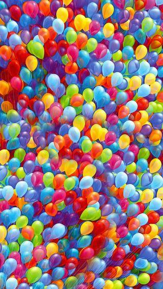 Обои на телефон шары, шарики, цветные, дом, вечеринка, up, globos, balloons globos